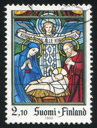 FINLAND - CIRCA 1992: stamp printed by Finland, shows Scene from the Bible, circa 1992 Stock Photo