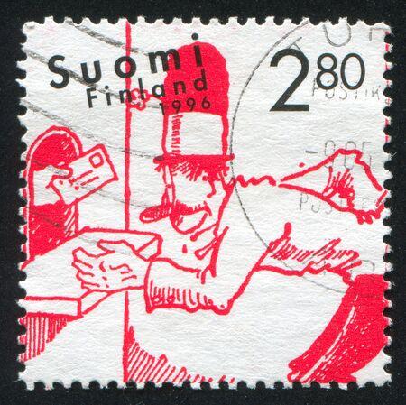 blockhead: FINLAND - CIRCA 1996: stamp printed by Finland, shows Finnish Comic, circa 1996 Stock Photo