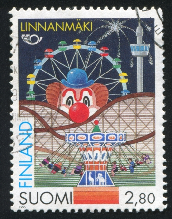 FINLAND - CIRCA 1995: stamp printed by Finland, shows Linnanmaki amusement park, Helsinki, circa 1995
