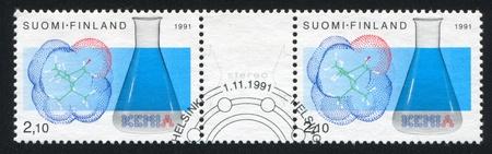 FINLAND - CIRCA 1991: stamp printed by Finland, shows Chemists Club, Finnish Chemists Society, circa 1991 photo