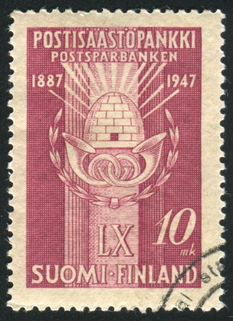 FINLAND - CIRCA 1947: stamp printed by Finland, shows Postal Savings Emblem, circa 1947 photo