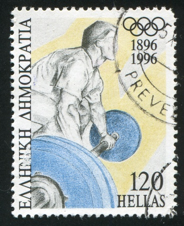 weight lifter: GREECE - CIRCA 1996: stamp printed by Greece, shows Weight lifter, circa 1996
