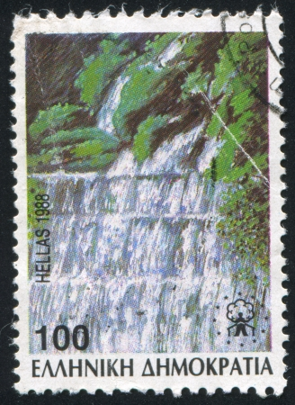vintage riffle: GREECE - CIRCA 1988: stamp printed by Greece, shows Edessaios River cascades, circa 1988