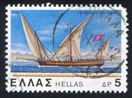 GREECE - CIRCA 1978: stamp printed by Greece, shows sailing ship Madonna of Hydra, circa 1978 photo