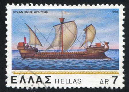 corvette: GREECE - CIRCA 1978: stamp printed by Greece, shows Byzantine corvette, circa 1978 Stock Photo