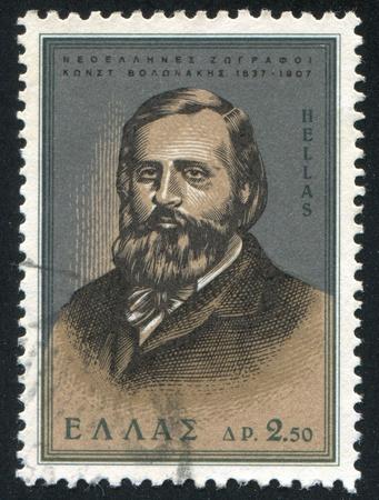 constantin: GREECE - CIRCA 1966: stamp printed by Greece, shows Painters, Constantin Volonakis, circa 1966
