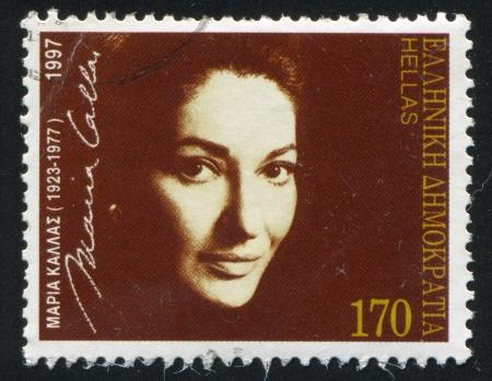 callas: GREECE - CIRCA 1997: stamp printed by Greece, shows Maria Callas, Opera Singer, circa 1997