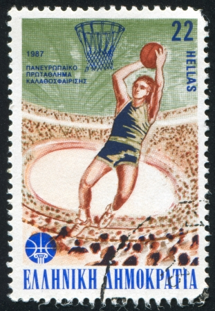GREECE - CIRCA 1987: stamp printed by Greece, shows 25th Basketball Championships, Stadium of Peace and Friendship, circa 1987 Stock Photo - 14174919