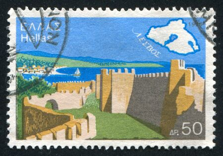 veer: Greece - CIRCA 1976: stamp printed by Greece, shows View and map, circa 1976 Stock Photo