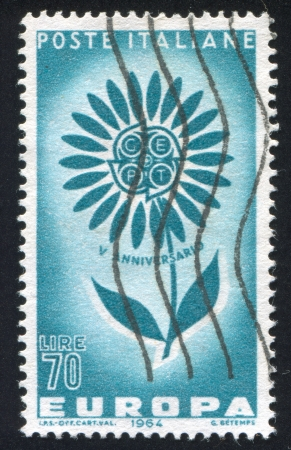 ITALY - CIRCA 1964: stamp printed by Italy, shows Stylized flower CEPT, Europa Issue, circa 1964 photo