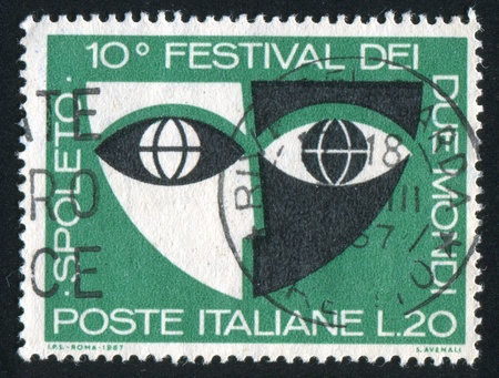 antithesis: ITALY - CIRCA 1967: stamp printed by Italy, shows Stylized Mask, circa 1967