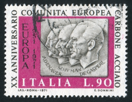 ITALY - CIRCA 1971: stamp printed by Italy, shows Adenauer, Schuman, De Gasperi, circa 1971 Stock Photo - 14174921