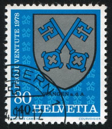 SWITZERLAND - CIRCA 1978: stamp printed by Switzerland, shows Wangen Arms, circa 1978. photo