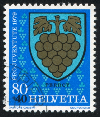 SWITZERLAND - CIRCA 1979: stamp printed by Switzerland, shows Perroy Arms, circa 1979. photo