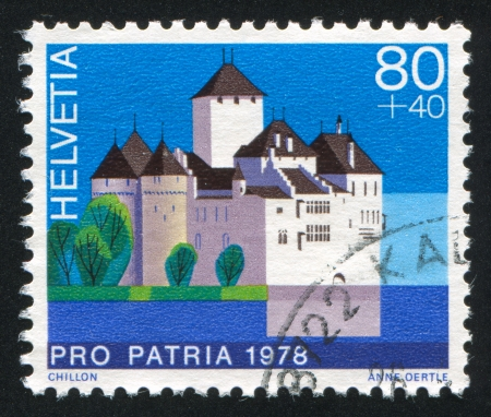 SWITZERLAND - CIRCA 1978: stamp printed by Switzerland, shows castle Chillon, circa 1978. photo