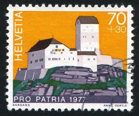 SWITZERLAND - CIRCA 1977: stamp printed by Switzerland, shows castle Sargans, circa 1977.
