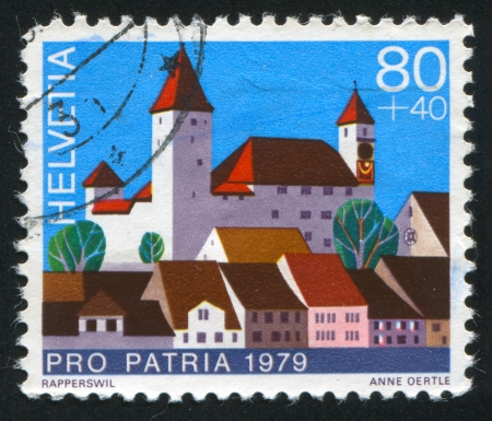 SWITZERLAND - CIRCA 1979: stamp printed by Switzerland, shows castle Rapperswil, circa 1979. photo