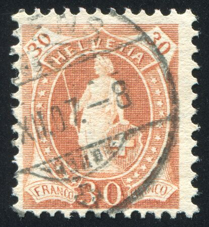 helvetia: SWITZERLAND - CIRCA 1904: stamp printed by Switzerland, shows Helvetia, circa 1904.
