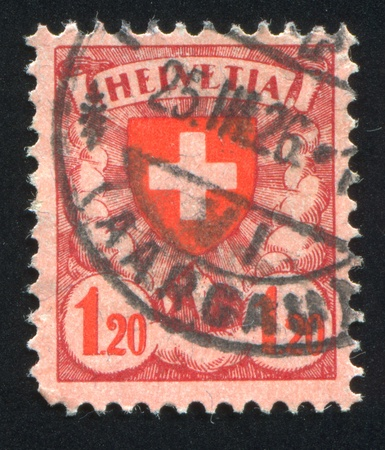 SWITZERLAND - CIRCA 1924: stamp printed by Switzerland, shows cross, circa 1924. photo