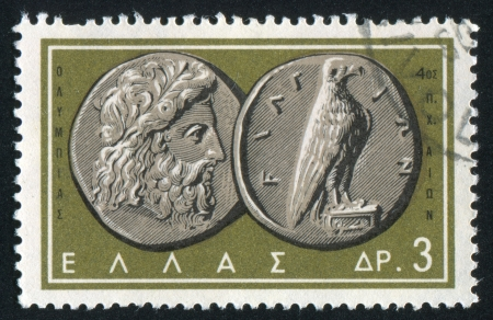 GREECE - CIRCA 1959: stamp printed by Greece, shows Zeus-Eagle coin, circa 1959 photo