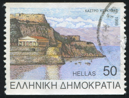 ravage: GREECE - CIRCA 1998: stamp printed by Greece, shows Korfu, circa 1998