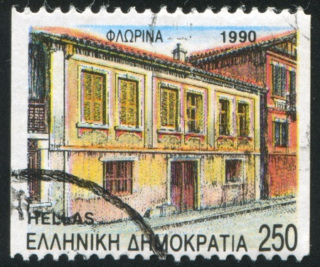 window seal: GREECE - CIRCA 1990: stamp printed by Greece, shows Florina, circa 1990