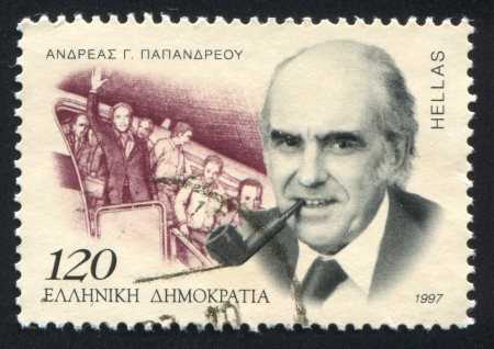 GREECE - CIRCA 1997: stamp printed by Greece, shows Andreas G. Papandreou, circa 1997 Stock Photo - 14174934