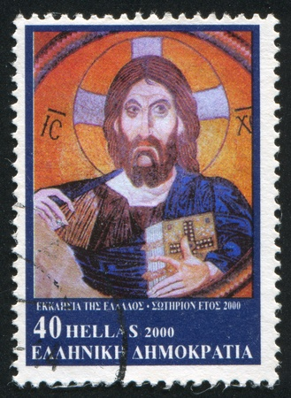GREECE - CIRCA 2000: stamp printed by Greece, shows mosaic of Christ, circa 2000 photo