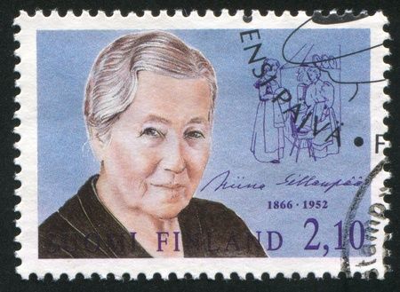 FINLAND - CIRCA 1992: stamp printed by Finland, shows Miina Sillanpaa (1866-1952), Minister of social affairs, circa 1992 Stock Photo - 14174675