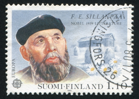 frans: FINLAND - CIRCA 1980: stamp printed by Finland, shows Portrait of Writer Frans Eemil Sillanpaa, circa 1980 Editorial