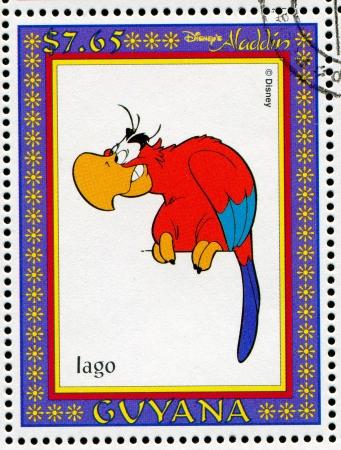 GUYANA - CIRCA 1993: stamp printed by GUYANA, shows Aladdin, Disney animated film, Iago, circa 1993