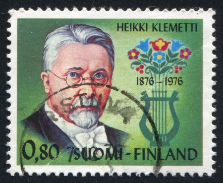 FINLAND - CIRCA 1976: stamp printed by Finland, shows Composer Heikki Klemetti, circa 1976 Stock Photo - 14224357