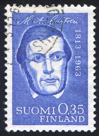 linguist: FINLAND - CIRCA 1963: stamp printed by Finland, shows Linguist Matthias Alexander Castren, circa 1963 Editorial