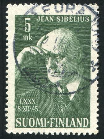sibelius: FINLAND - CIRCA 1945: stamp printed by Finland, shows Composer Jean Sibelius, circa 1945
