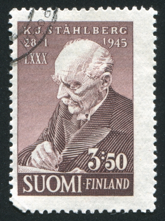 FINLAND - CIRCA 1945: stamp printed by Finland, shows President Kaarlo Juho Stahlberg, circa 1945 Stock Photo - 14224340