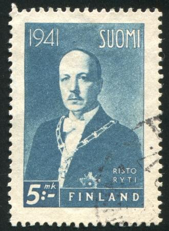 FINLAND - CIRCA 1941: stamp printed by Finland, shows President Risto Heikki Ryti, circa 1941 Stock Photo - 14224314