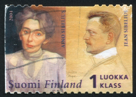 sibelius: FINLAND - CIRCA 2004: stamp printed by Finland, shows Composer Jean Sibelius and his wife Aino Sibelius and, circa 2004