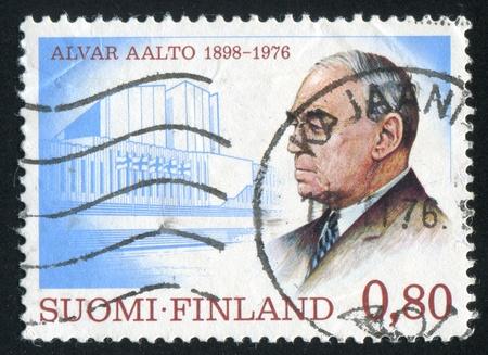 FINLAND - CIRCA 1976: stamp printed by Finland, shows Architect Alvar Aalto, circa 1976 Stock Photo - 14224358