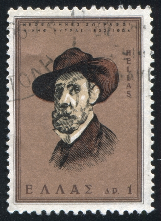 GREECE - CIRCA 1966: stamp printed by Greece, shows Nikeforus Lytras, painter, circa 1966 Stock Photo - 14224339
