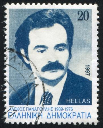 GREECE - CIRCA 1997: stamp printed by Greece, shows Alexandros Panagoulis, circa 1997 Stock Photo - 14224322