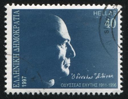 GREECE - CIRCA 1997: stamp printed by Greece, shows Odysseus Elytis, poet, circa 1997 Stock Photo - 14224359