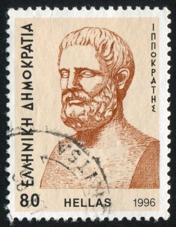 GREECE - CIRCA 1996: stamp printed by Greece, shows Hippocrates, circa 1996