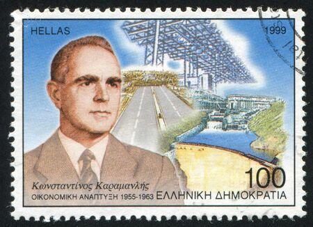 GREECE - CIRCA 1999: stamp printed by Greece, shows Konstantin Karamanlis, president, circa 1999 Stock Photo - 14224356