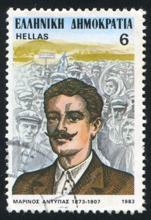 GREECE - CIRCA 1983: stamp printed by Greece, shows Marinos Antypas, leader, circa 1983 Stock Photo - 14224375