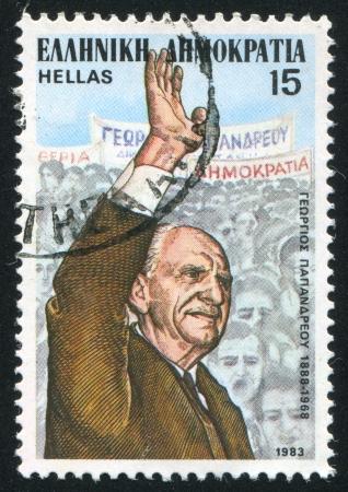 GREECE - CIRCA 1983: stamp printed by Greece, shows George Papandreou, circa 1983 Stock Photo - 14224351