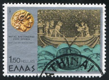 descends: GREECE - CIRCA 1977: stamp printed by Greece, shows Alexander descends to the bottom of the sea, circa 1977 Stock Photo