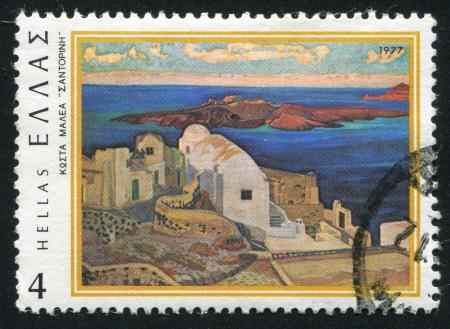 constantine: GREECE - CIRCA 1977: stamp printed by Greece, shows Santorini, by Constantine Maleas, circa 1977