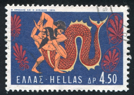 GREECE - CIRCA 1970: stamp printed by Greece, shows Fight with the river God Achelos, circa 1970 Stock Photo - 14257989