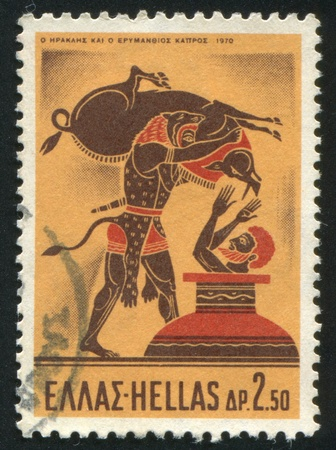 GREECE - CIRCA 1970: stamp printed by Greece, shows Hercules and the Erymanthian Boar, circa 1970 Stock Photo - 14257808