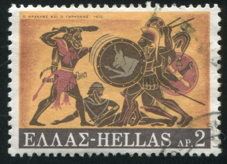 GREECE - CIRCA 1970: stamp printed by Greece, shows Slaying of Geryon, circa 1970 Stock Photo - 14257806